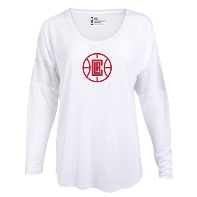 NBA Los Angeles Clippers Women's Core Athletic White Mesh Insert Long Sleeve T-Shirt