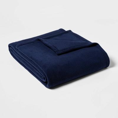 Twin/Twin XL Solid Fleece Bed Blanket Navy - Room Essentials™
