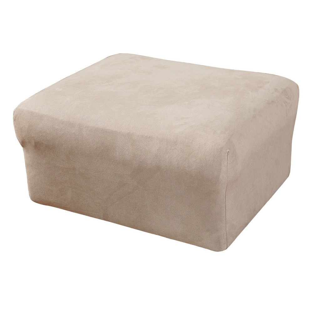 Stretch Suede Oversized Ottoman Slipcover Oatmeal - Sure Fit