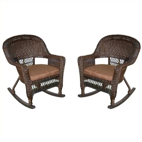 Steel Rocker Wicker Chair in Espresso and Brown (Set of 2)-Pemberly Row - image 1 of 1