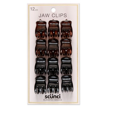 scunci 2cm Small 3-Prong Jaw Clips - 12pk