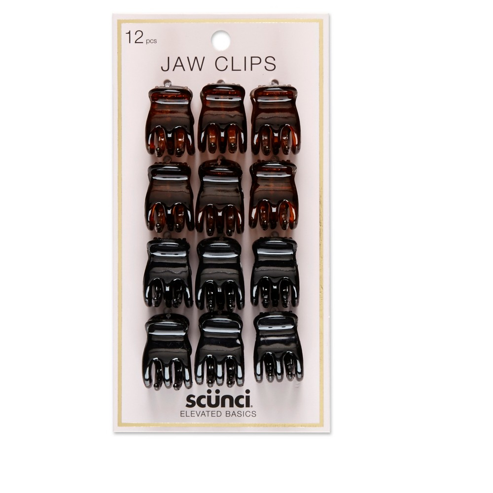 Image of Conair Scunci 2cm Small 3-Prong Jaw Clips - 12pk, Black