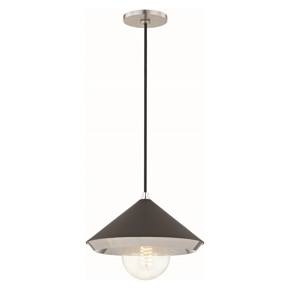 Image of 1pc Marnie Large Light Pendant Black/Brushed Nickel - Mitzi by Hudson Valley