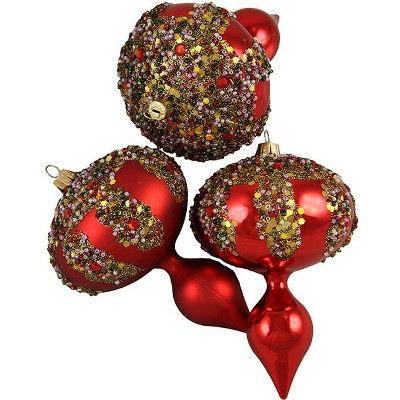 """Barcana 3ct Red Shatterproof Glitter Sequin Beaded Christmas Finial Ornaments 5"""""""