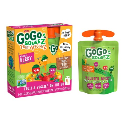 GoGo Squeez Fruit & Veggiez Boulder Berry On-the-Go Pouch - 3.2oz 4pk - image 1 of 4