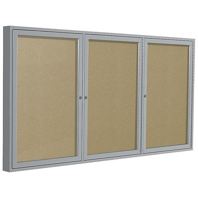 Ghent 3 Door Enclosed Vinyl Bulletin Board Satin Frame 4'H x 8'W Caramel PA34896VX181