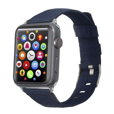 Insten Canvas Woven Fabric Band for Apple Watch 42mm 44mm All Series SE 6 5 4 3 2 1, For Women Girls Men Replacement Strap, Navy Blue