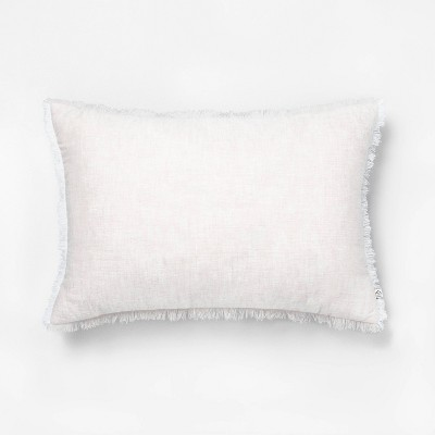 """14"""" x 20"""" Raw Edge Cross Dyed Throw Pillow Taupe - Hearth & Hand™ with Magnolia"""
