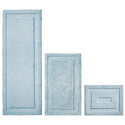 mDesign Microfiber Polyester Bathroom Spa Mat Rugs/Runner, Set of 3 - Water Blue