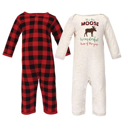 Hudson Baby Infant Boy Holiday Cotton Coveralls 2pk, Moose Wonderful Time