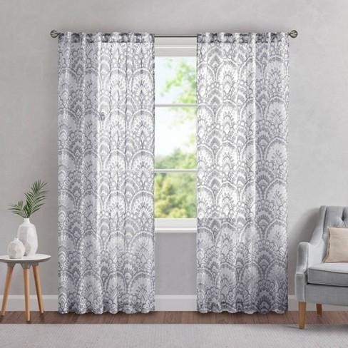 Deja Printed Burnout Sheer Panel Curtain - image 1 of 4