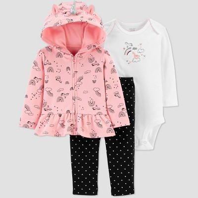 Baby Girls' North Unicorn Top & Bottom Set - Just One You® made by carter's Pink/Black 9M