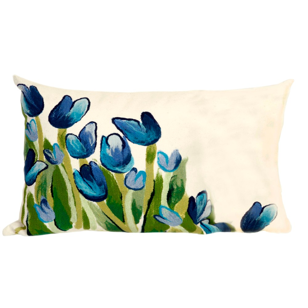 Blue Allover Tulips Throw Pillow (12