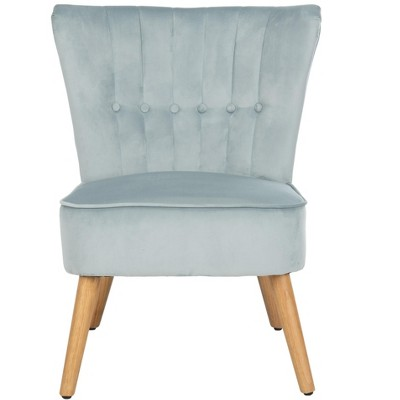 June Mid Century Accent Chair - Slate Blue/Natural - Safavieh
