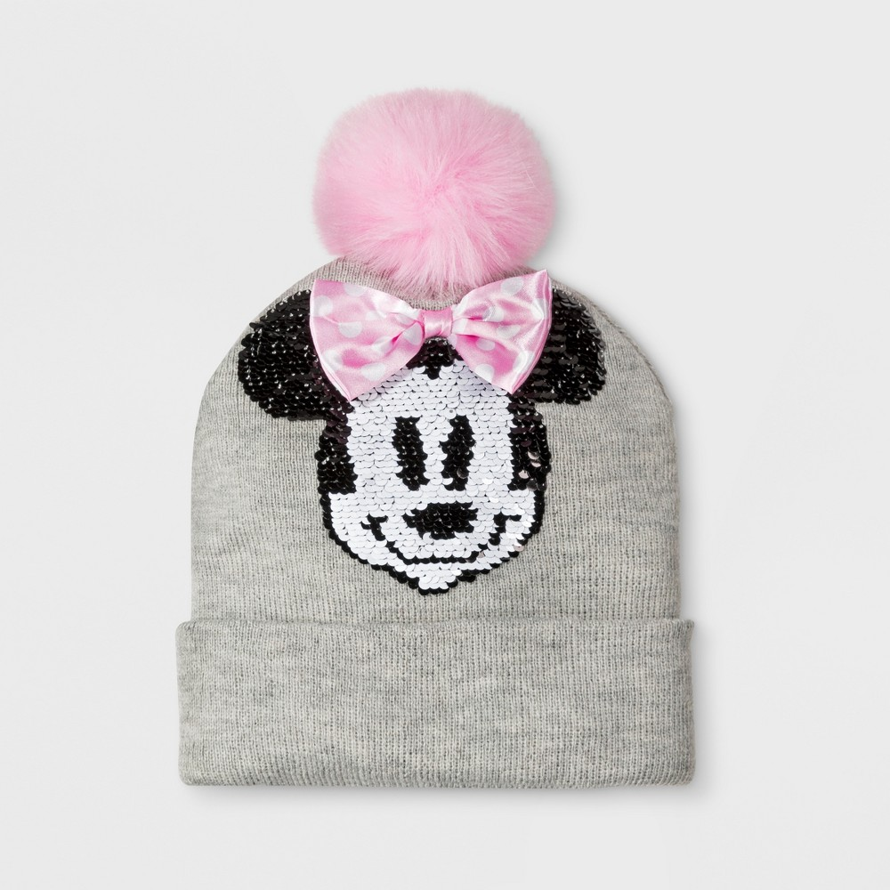 Girls' Minnie Mouse Beanie - Gray One Size