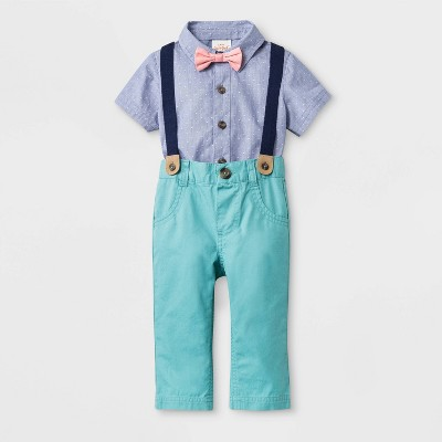 Baby Boys' Short Sleeve Woven Bodysuit with Bowtie and Long Pants - Cat & Jack™ Blue/Green 3-6M