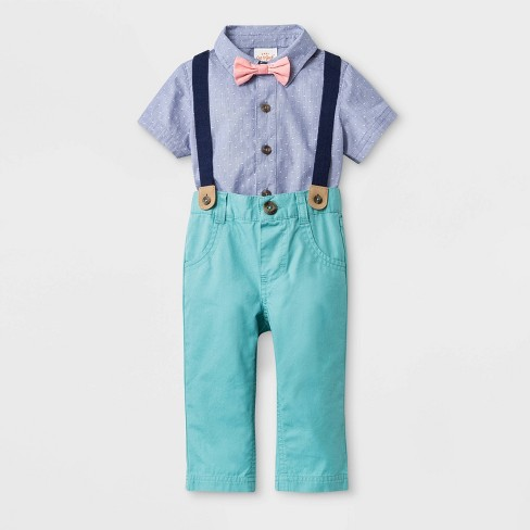 Baby Boys' Short Sleeve Woven Bodysuit with Bowtie and Long Pants - Cat & Jack™ Blue/Green - image 1 of 2