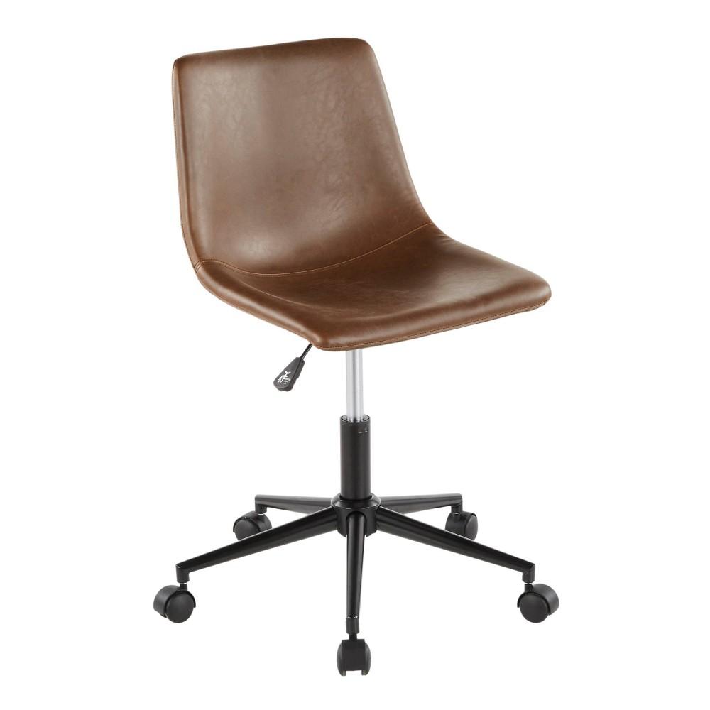 Duke Industrial Task Chair Faux Leather Black/Espresso - LumiSource, Espresso Brown
