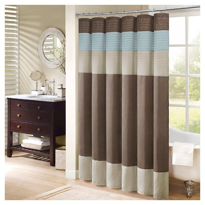 Salem Solid Pieced Polyester Shower Curtain w/ Pintucking -Brown