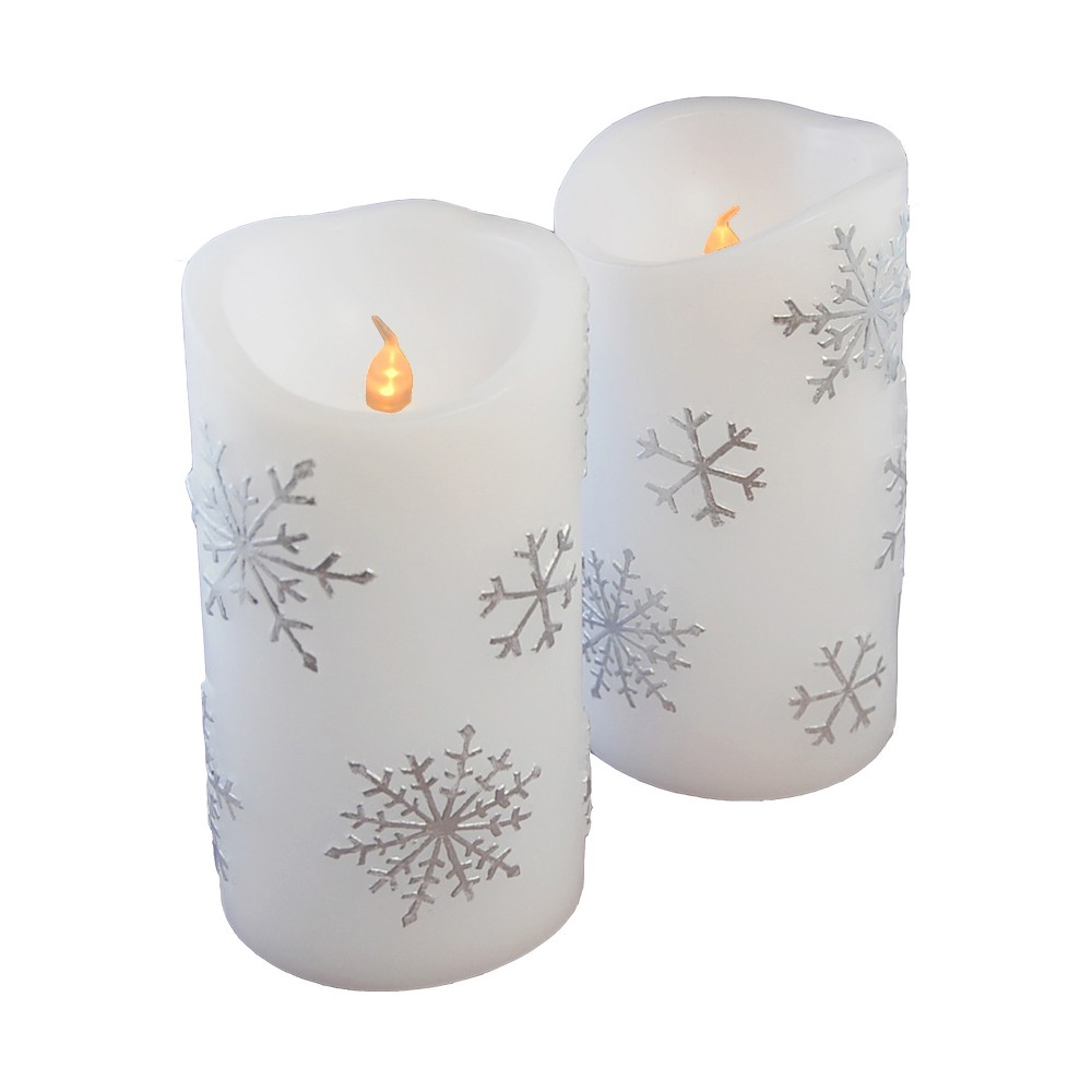 Image of 2ct Battery Operated Wax Candles With Silver Snowflakes And 2 Timers LED Candle - LumaBase