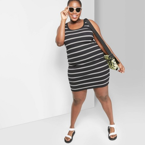 Women\'s Plus Size Striped U-Neck Knit Tank Mini Dress - Wild Fable™  Black/White