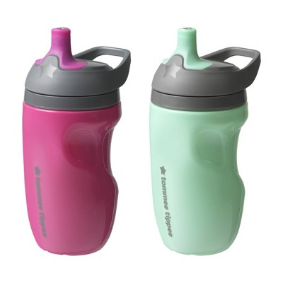Tommee Tippee Insulated Sportee Toodler Girl water Bottle With Handle Pink & Mint - 2pk