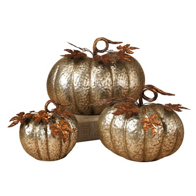 Gerson International Assorted Sized Hammered Metal Pumpkins (Set of 3)
