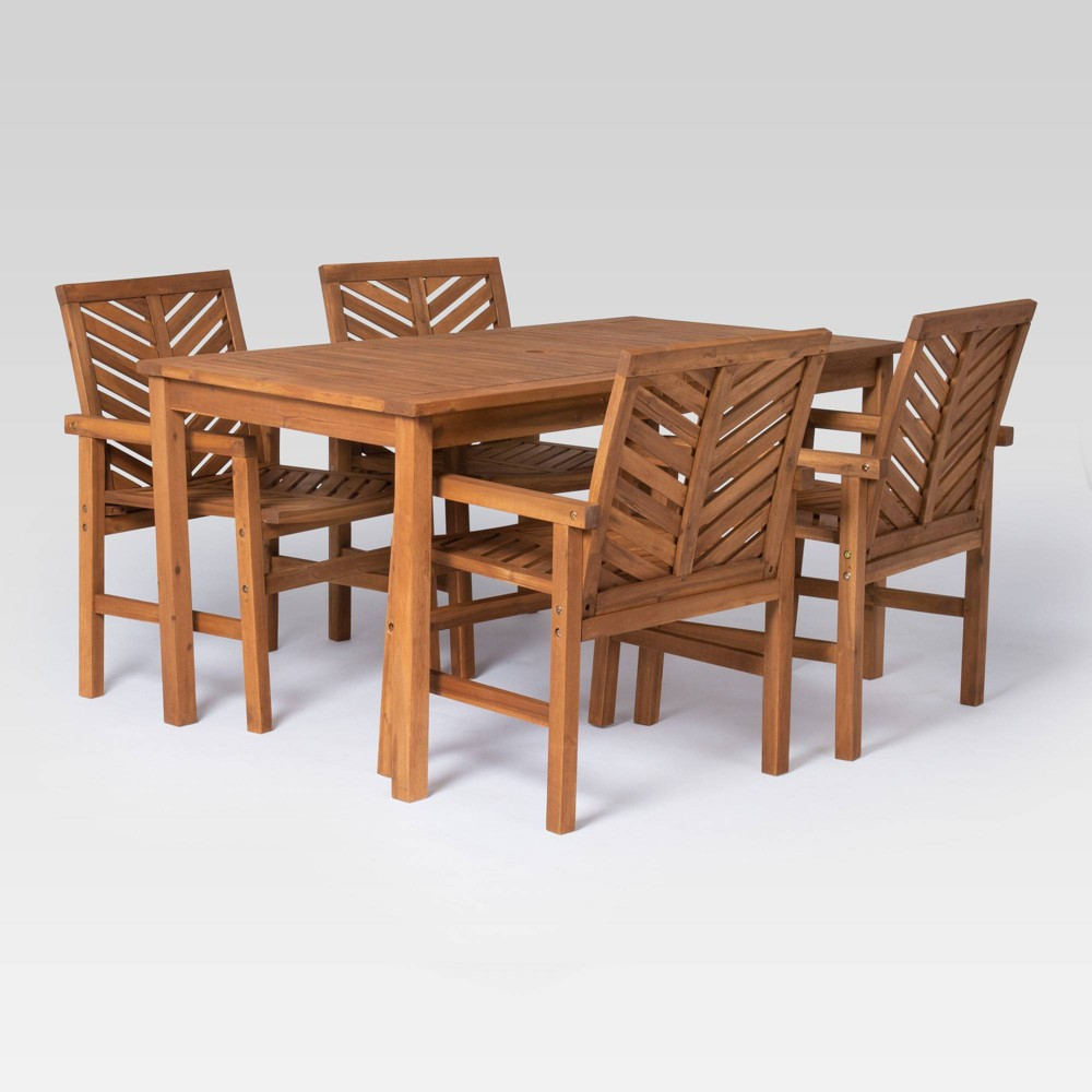 5pc Chevron Outdoor Patio Dining Set - Brown - Saracina Home