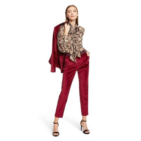 Women's Snake Print Long Sleeve Tie Neck Blouse - Altuzarra for Target Brown - image 1 of 4