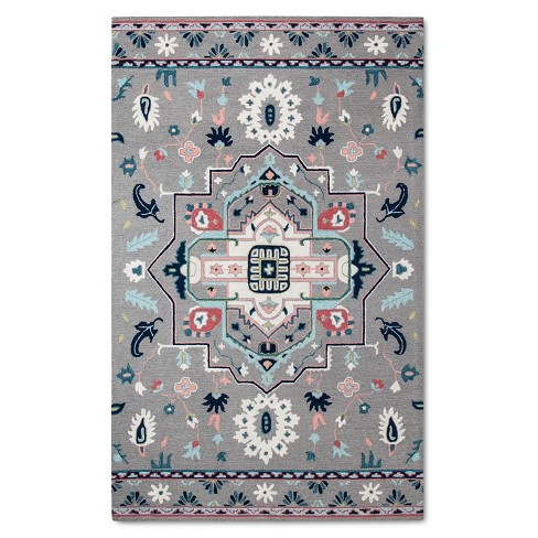 Gray Hand Hooked Medallion Area Rug 5 X7 Target