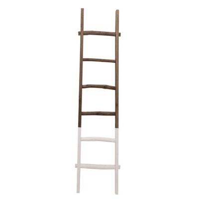 """76"""" Wooden Decorative Ladder 2 Tone White - Sagebrook Home"""