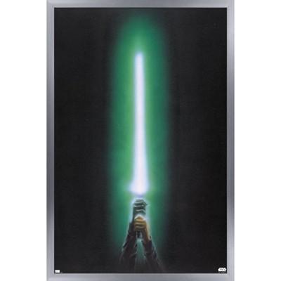 Trends International Star Wars: Original Trilogy - Green Lightsaber Framed Wall Poster Prints