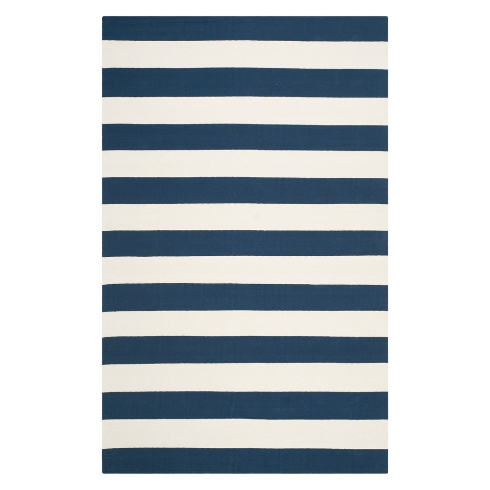 Stripe Woven Area Rug Navy/Ivory