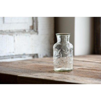 Park Hill Collection Etched Glass Apothecary Vase, Small