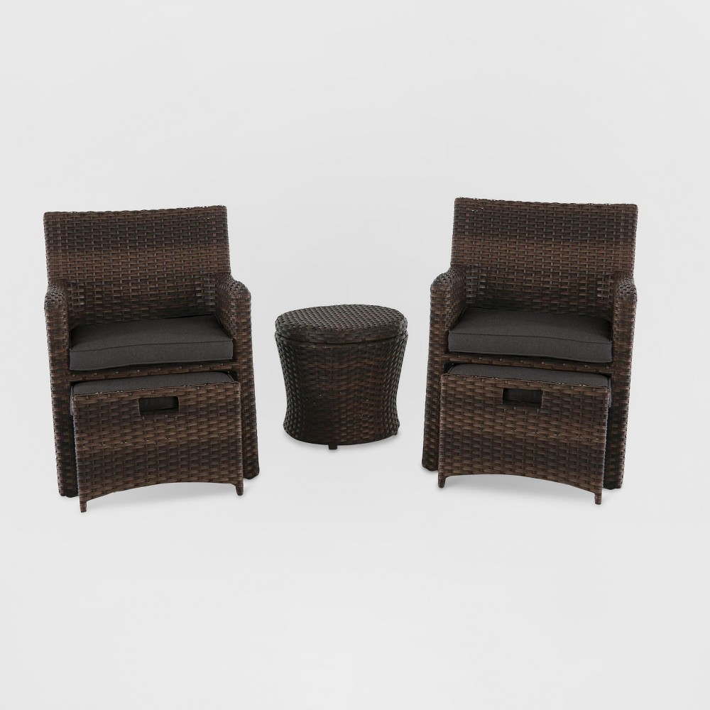 Halsted 5pc All Weather Wicker Patio Chat Set - Charcoal (Grey) - Threshold