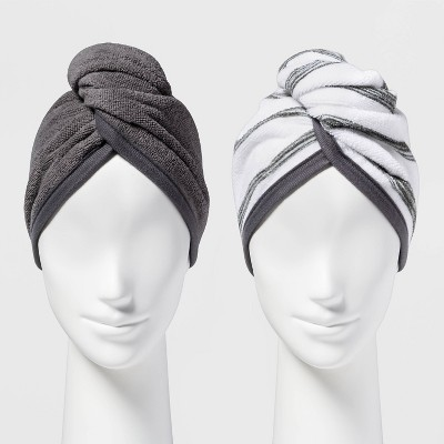 2pk Bath Hair Wrap White/Gray - Room Essentials™
