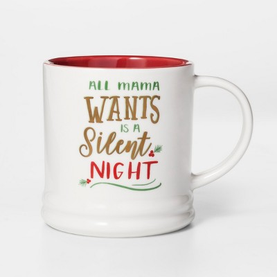 16oz Porcelain All Mama Wants Is A Silent Night Mug White/Red - Threshold™