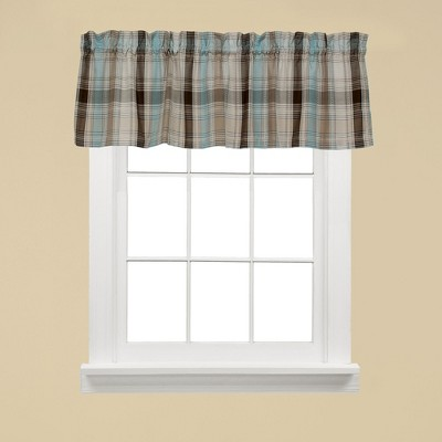 "Saturday Knight Ltd Cooper Collection High Quality Modern Tailored Yarn Dyed Woven Rod Pocket Window Tiers & Valance in Blue Color - 58""x13"""