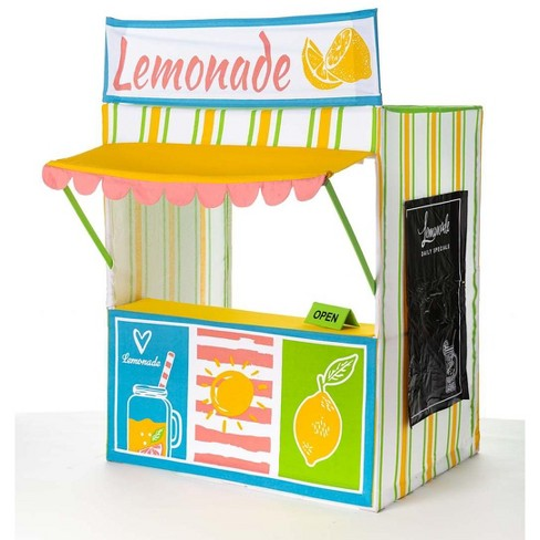 HearthSong Pretend Lemonade Stand Screen Printed Cotton Canvas Play Space with Menu, Apron, and OPEN sign - image 1 of 4
