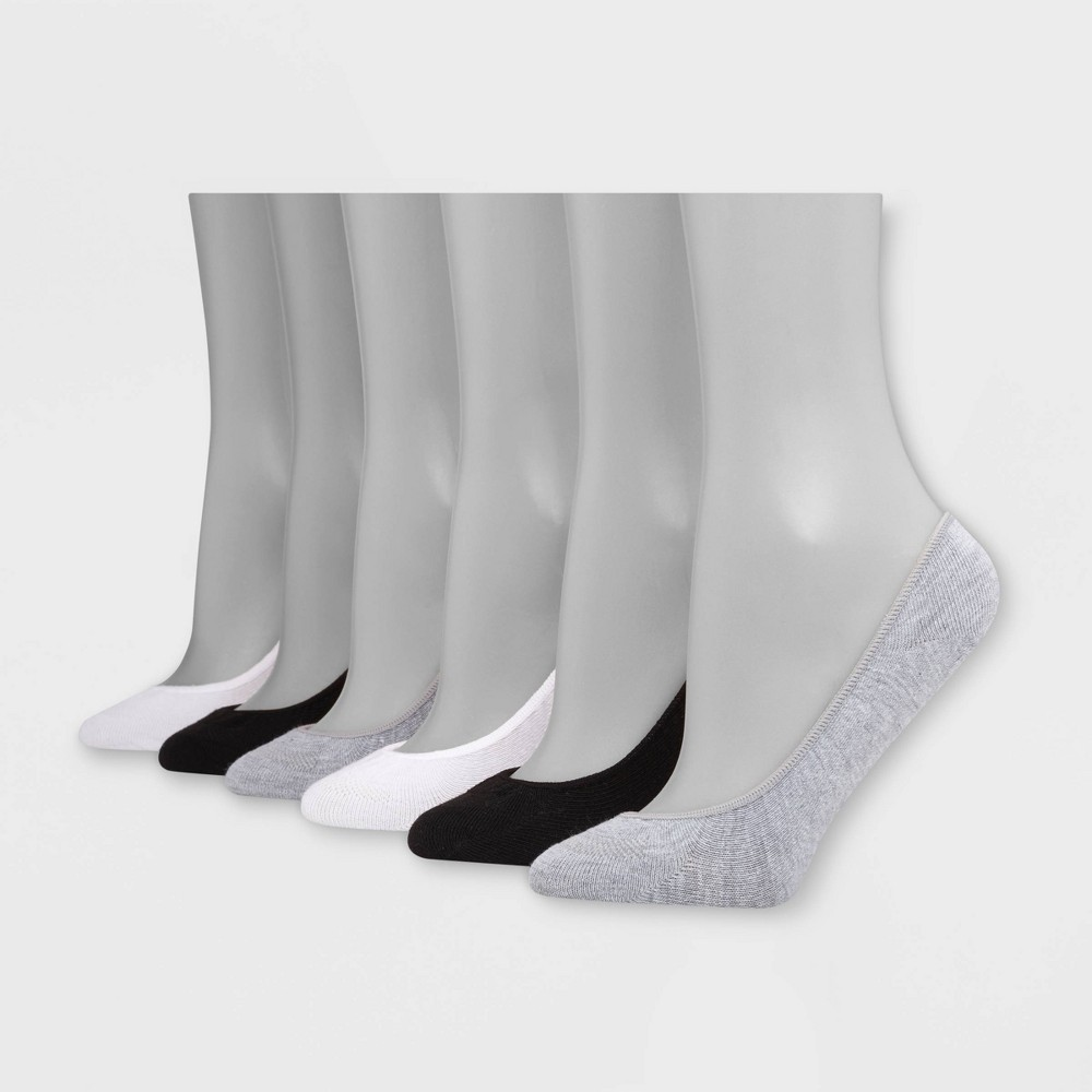 Hanes Women's 6pk Ultra Low Ballerina Liner Invisible Comfort Socks - Gray/Black/White 5-9, Grey/Black/White