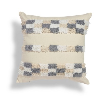"""18""""x18"""" Checkerboard Boucle Embroidered Square Throw Pillow Gray/White - Sure Fit"""