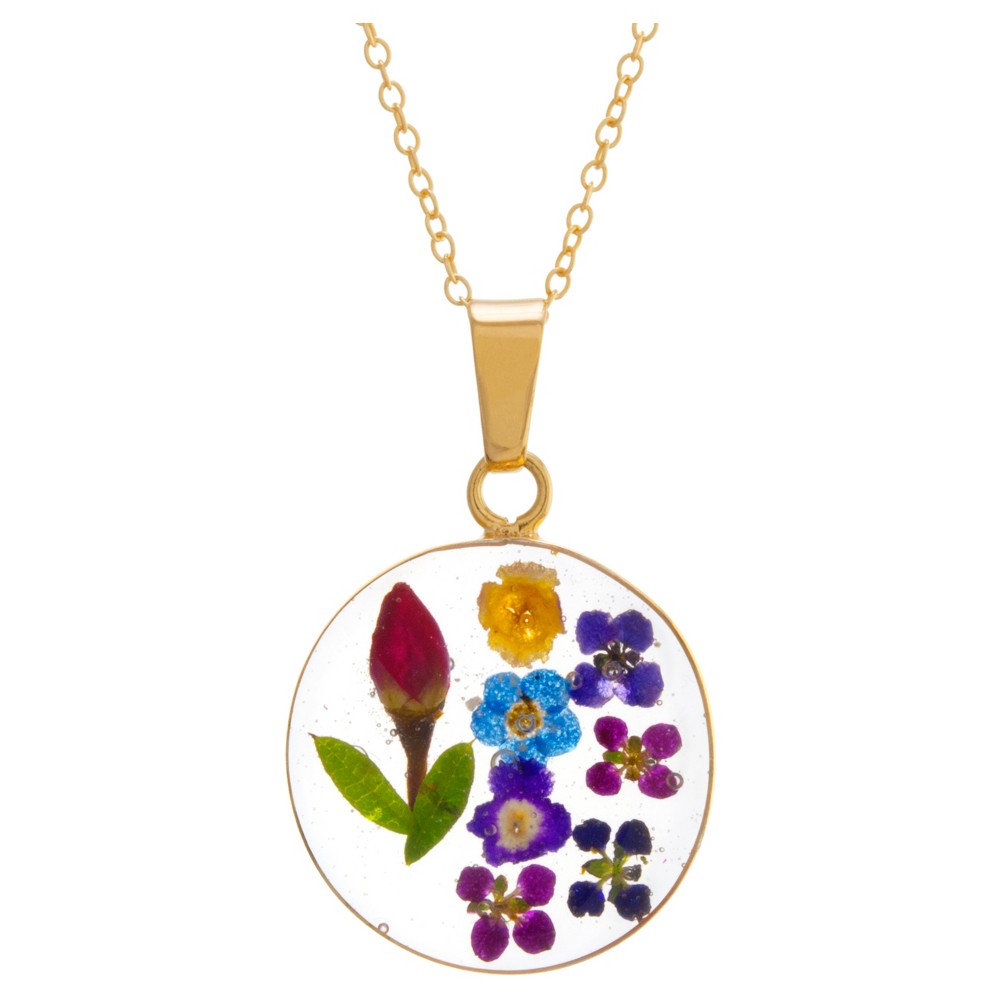 Women's Gold over Sterling Silver Pressed Flowers Circle Pendant (18), Multi-Colored