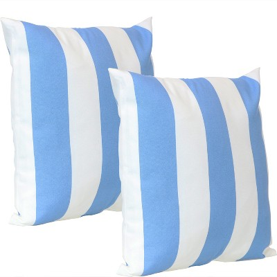 "17"" Square Decorative Outdoor Pillow - Set of 2 - Blue Stripe - Sunnydaze Decor"