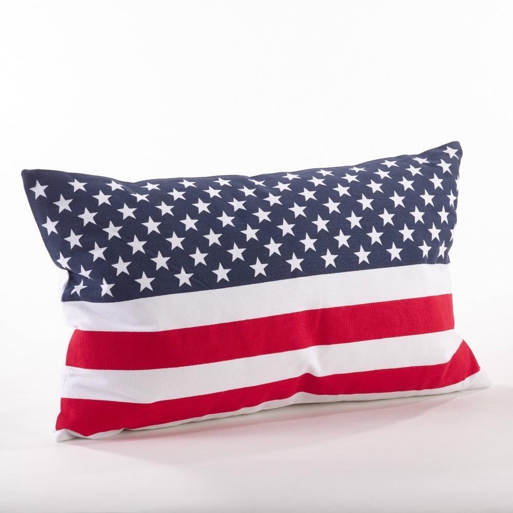 Down Filled American Flag Design Lumbar Throw Pillow Saro Lifestyle