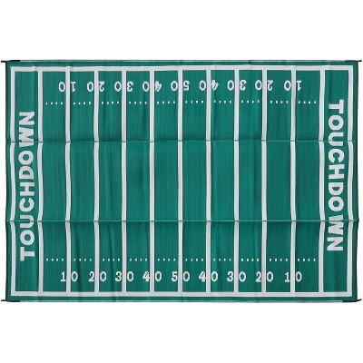 Camco 42861 9 by 12 Foot Reversible American Football Field Design Outdoor UV Coated Breathable Portable Patio Mat Pad for Picnics and Camping