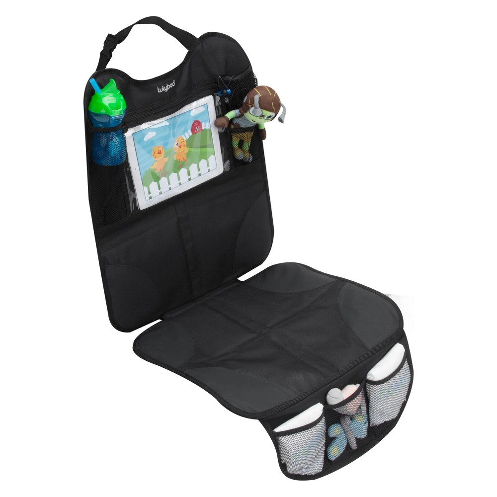 Image of Lulyboo Baby Auto Seat Protector and Carseat Organizer with Clear Device Pocket, Black
