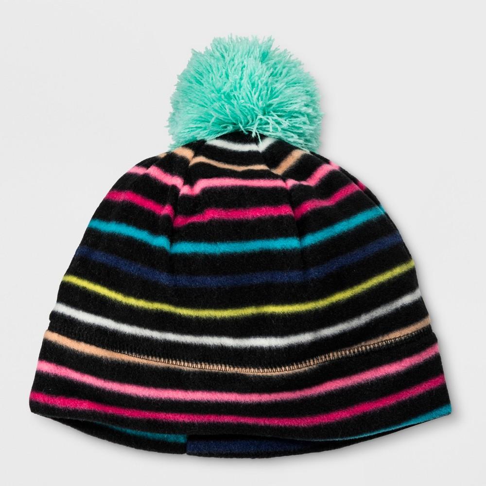 Girls' Stripe Fleece Beanie - Cat & Jack Black 4-7