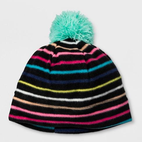 6e1294cec7c Girls  Stripe Fleece Beanie - Cat   Jack™ Blac   Target