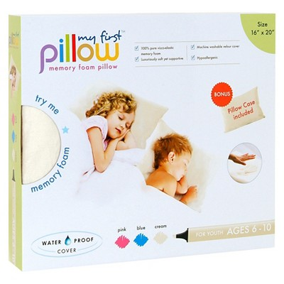 My First Pillow Memory Foam with Free Pillowcase Youth - Cream (16 x20 )