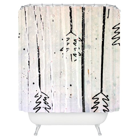Kent Youngstrom Holiday Trees Shower Curtain White/Black - Deny Designs - image 1 of 4